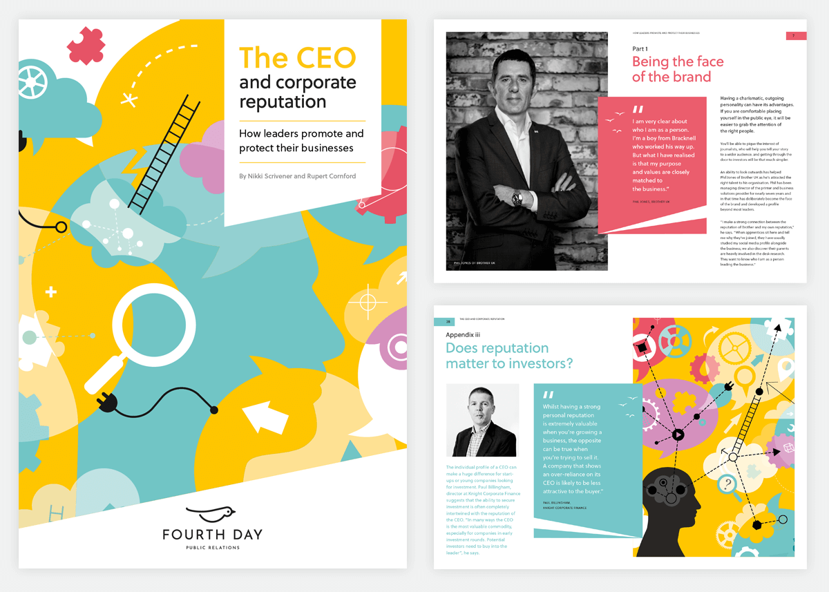 Front cover and spreads from : The CEO and corporate reputation whitepaper by Fourth Day.